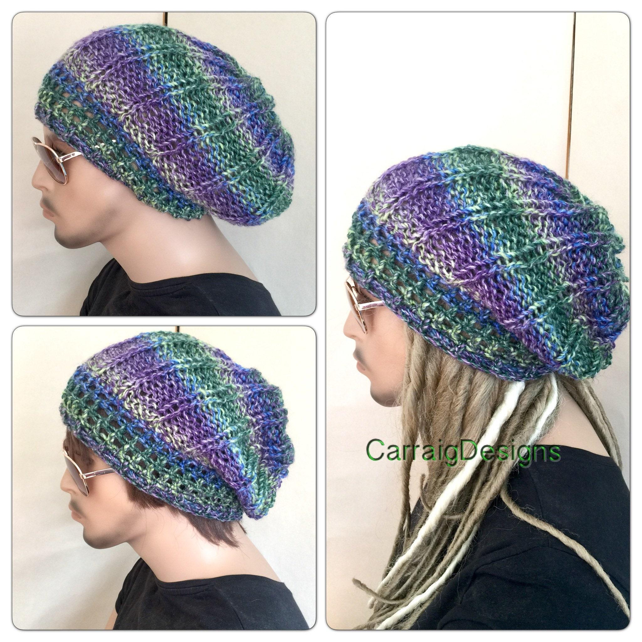 85c675eed99 Unisex slouch Dread beanie Oversized hat mans mens unisex guy hand crochet  knit gift tam accessories hippy handmade dreadlocks irish ooak