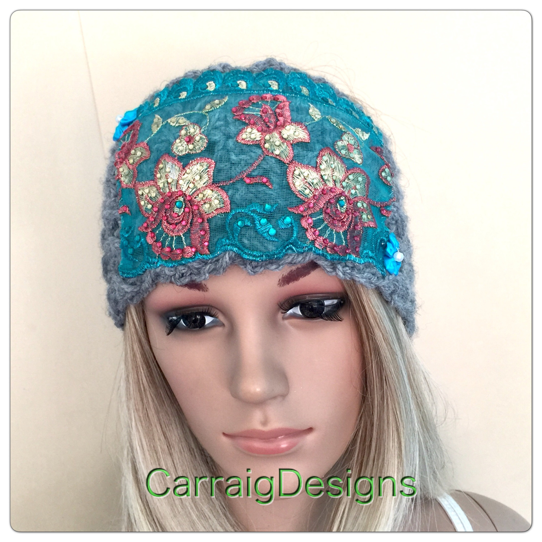 Embroidered lace headband indian grey Womens teens designer unique ski  headband crochet knit dread tube wrap 0e5e4dad4008