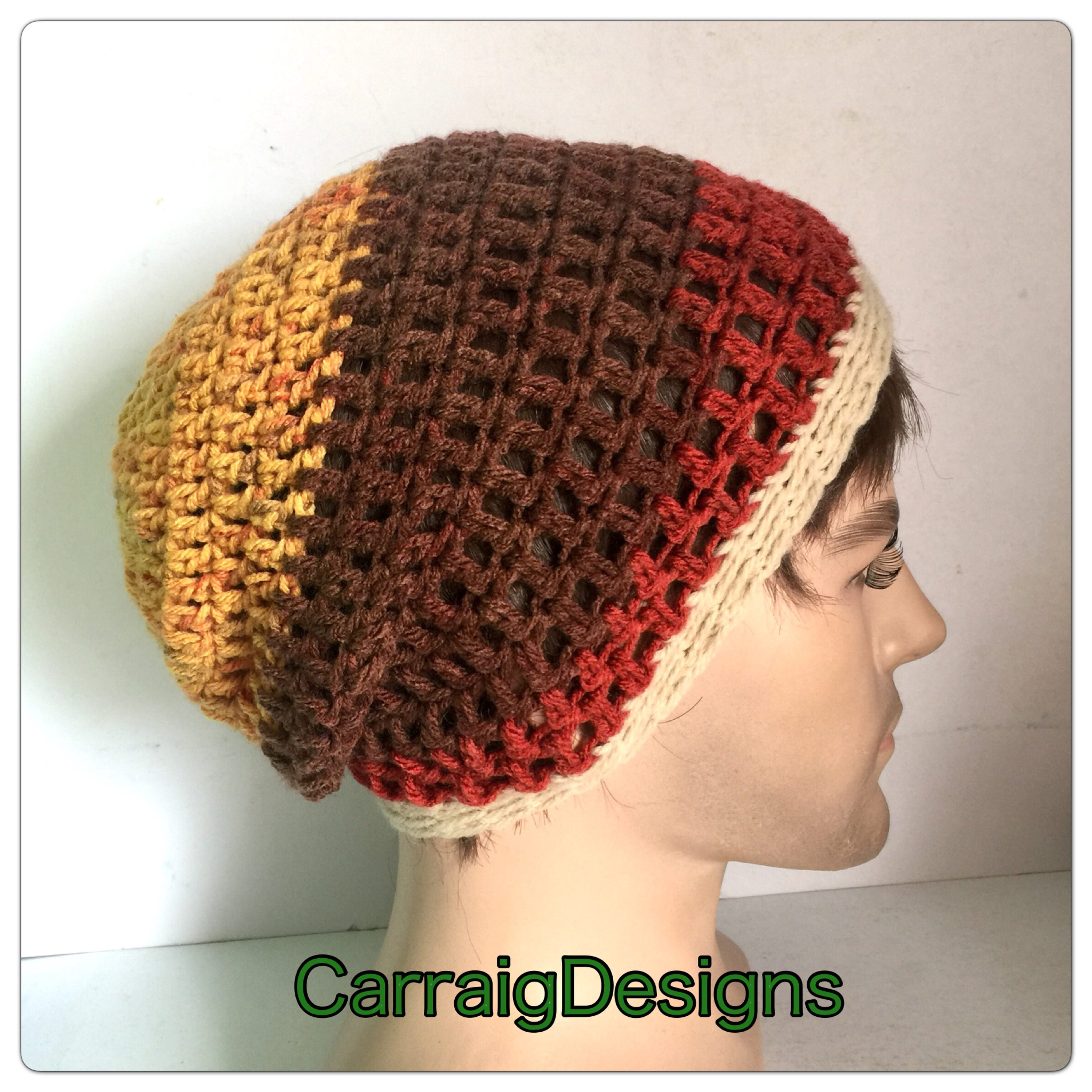 bb2cbcd811a Mens slouch beanie hat man Designer hand crochet knitted oversized guy  slouchy striped gaming dread tam sale unisex women xmas gift ooak