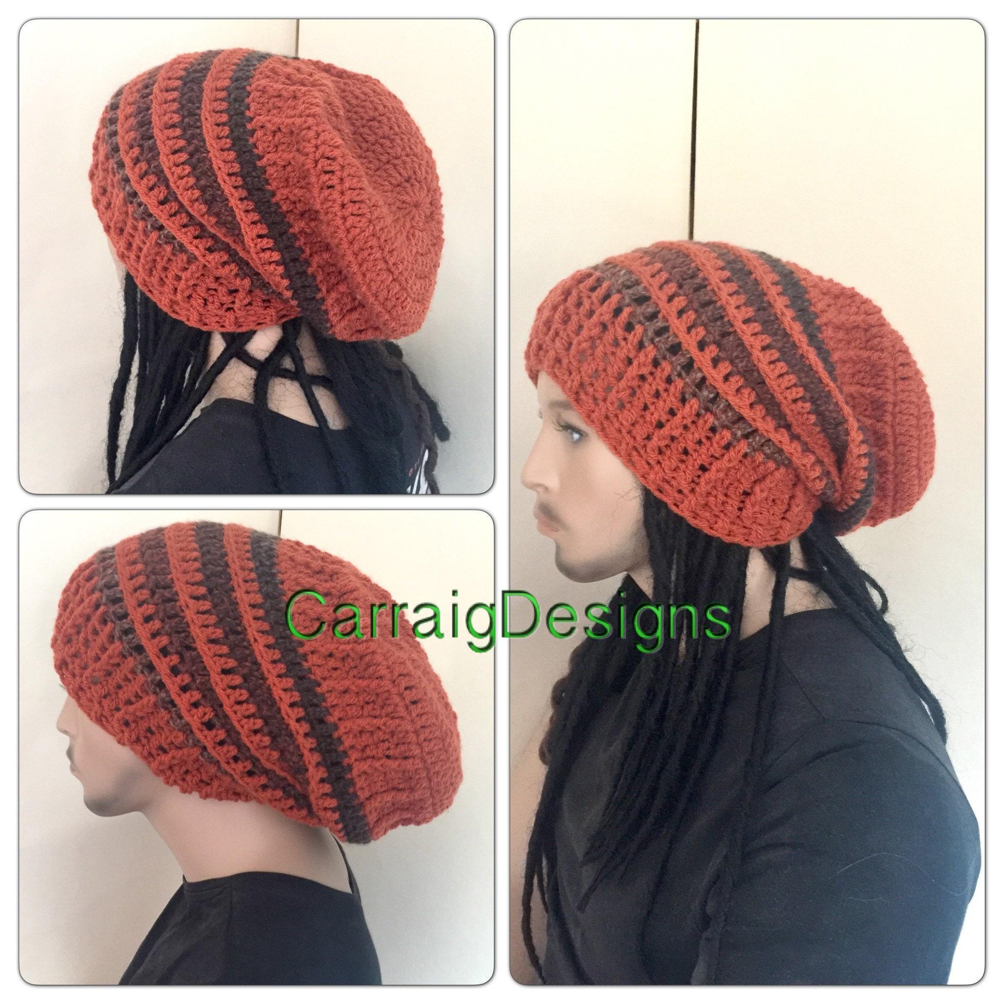 f96b29a2932 Orange Dread beanie Oversized slouch hat mans mens unisex guy crochet knit  dread gift tam accessories hippy handmade long dreadlock baggy ca