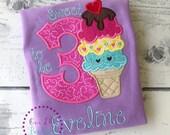 2b625fc6 Ice Cream Birthday Shirt - Ice Cream Birthday - It's Sweet To Be Three - Birthday  Shirt- Personalized Birthday - Personalized - Birthday