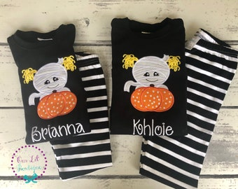 halloween pajamas personalized pajamas girls halloween pajamas boys halloween pajamas pumpkin pajamas mummy pajamas