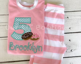 Donut personalized Birthday Pajamas - Donut Personalized PJs - Personalized Donut Shirt - Donut Birthday - Donut Applique - Boys - Girls