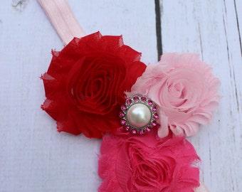 Infant Headbands - Baby Headbands - Newborn Headbands - Pink and Red Shabby Chic Rosette Headband - Photo Prop - Valentines Headband