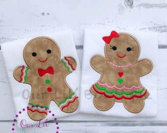 Gingerbread Christmas Shirt - Girls Christmas Shirt - Gingerbread Shirt - Girl Gingerbread - Christmas Applique Shirt - Boy Gingerbread