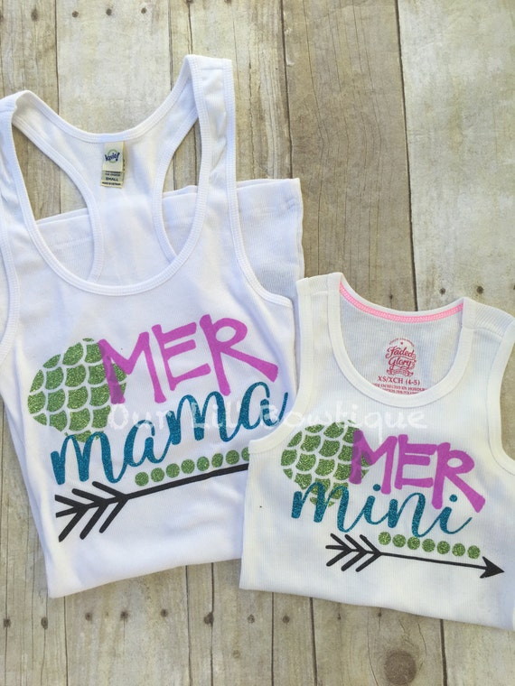 8eb99a464d3 Mermaid Mommy & Me Tank Top Mommy and Me Tanks Mer Mama