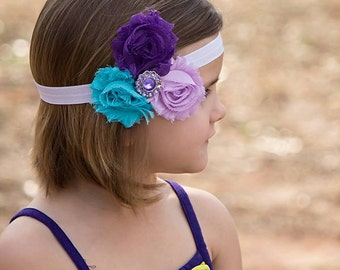 Infant Headbands - Baby Headbands - Newborn Headbands - 3 Color Purple and Teal Shabby Chic Rosette Headband - Photo Prop