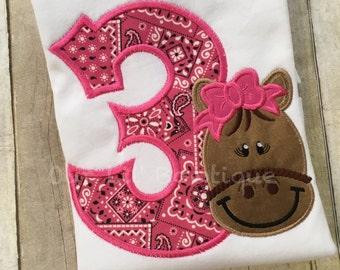 Horse Birthday Shirt- Horse Birthday - Pony Shirt - Girl's Pony Birthday Shirt - Personalized Horse - Pony Birthday - Pink Bandana