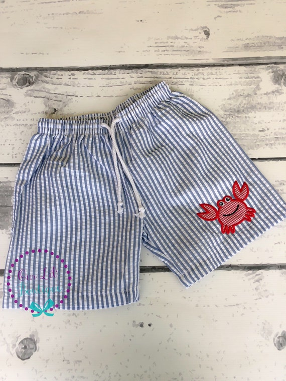 boys beach cover up Boys Monogrammed Seersucker Swim Trunks and Coverup Personalized toddler swim suit seersucker swimsuit coverup