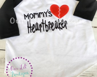 Heartbreaker - Mommy's Heartbreaker Shirt - Valentine's Day Shirt - Personalized Valentine's Day Shirt - Boys Valentine Shirt -Raglan