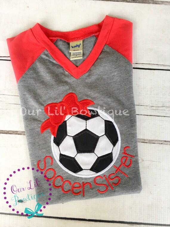 d0b5f8896f802 Soccer Shirt - Raglan Soccer Bow Shirt - Personalized Shirt - Soccer ...