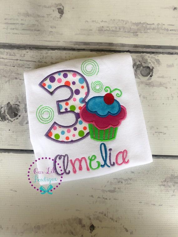 Personalized Birthday Shirt Any Age Custom Fabrics and Font Girls Birthday Shirt Cupcake Birthday Shirt