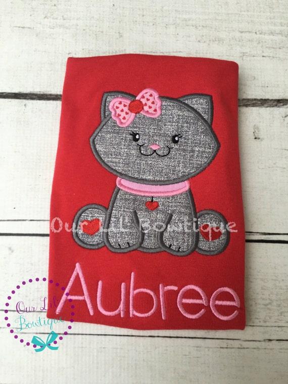 Valentine S Cat Shirt Personalized Valentine Shirt Girls