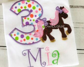 Pony Shirt - Girl's Pony Birthday Shirt - Girl - Toddler - Infant - Baby - Personalized Shirt