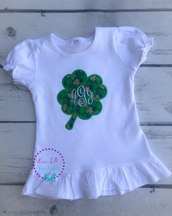 Sisters Shamrock Girl with Glasses Applique Ruffle Style Short or Long Sleeve T-shirt School Party St Patricks Day Clover