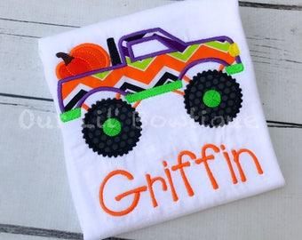 Pumpkin Monster Truck Halloween Shirt - Boys Halloween Shirt - Pumpkin Shirt - Boy Pumpkin - Truck - Boys Fall Shirt - Pumpkin Patch