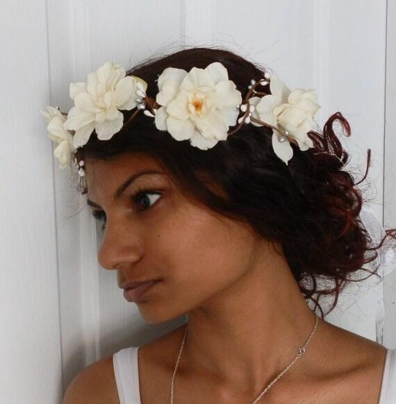 White Flower Crown White Wedding Hairpiece White Bridal Etsy