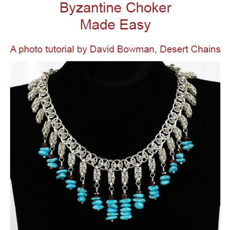 Byzantine Choker Necklace Turquoise Silver Chainmaille Jewelry Tutorial  Instructions