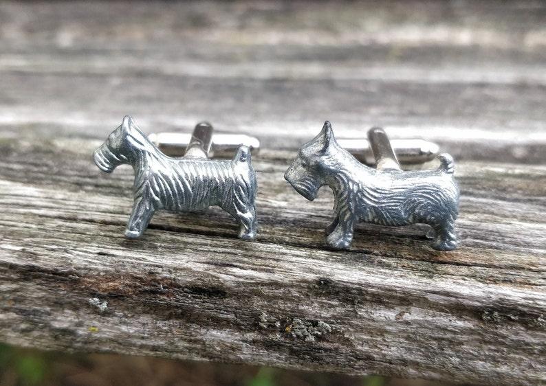 Christmas Unique Birthday Gift Groomsmen Gift Dog Cufflinks Anniversary Terrier Cufflinks Silver