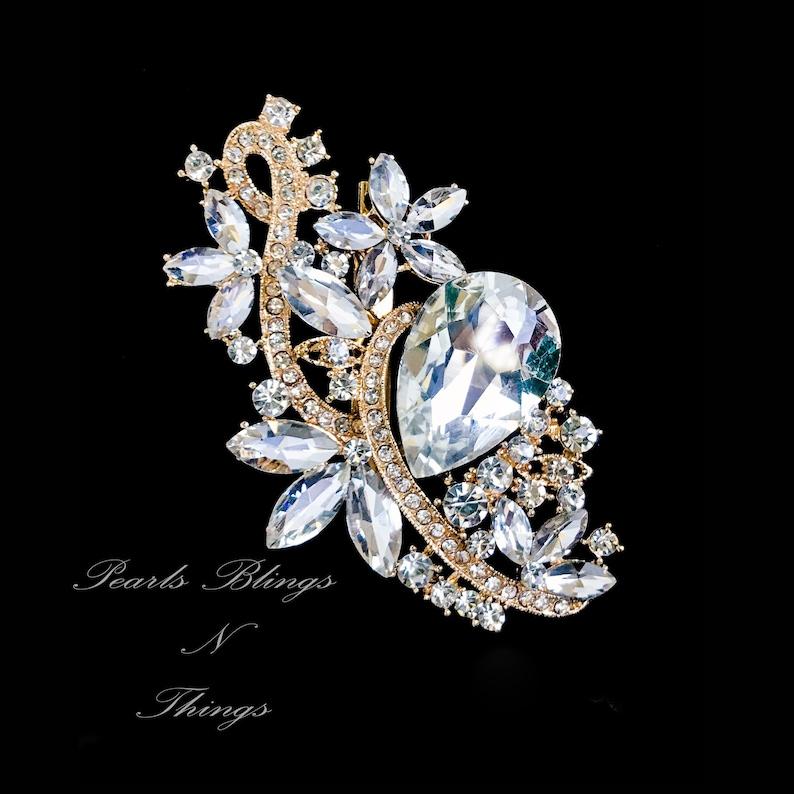 Sale Beautiful Ex Large Crystal Pearl Rhinestone Brooch Etsy
