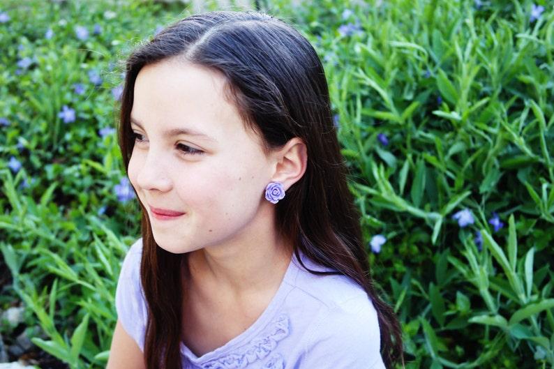 LIGHT PURPLE rose clip on earrings. Little girl clip on image 0