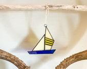 handmade art glass sailboat ornament sun catcher (navy blue yellow stripes)