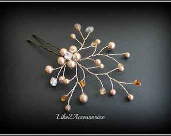 Bridal Hair Pins Wedding Accessories Wedding Hair Pin Bridesmaid Hair Clip Floral Vine Hair Pin Champagne White Ivory Swarovski Pearl Clip