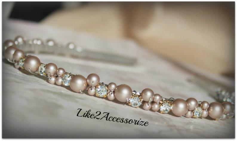 200be9d8043bb4 Light Champagne Brown Swarovski Pearl Headband Bridal Tiara