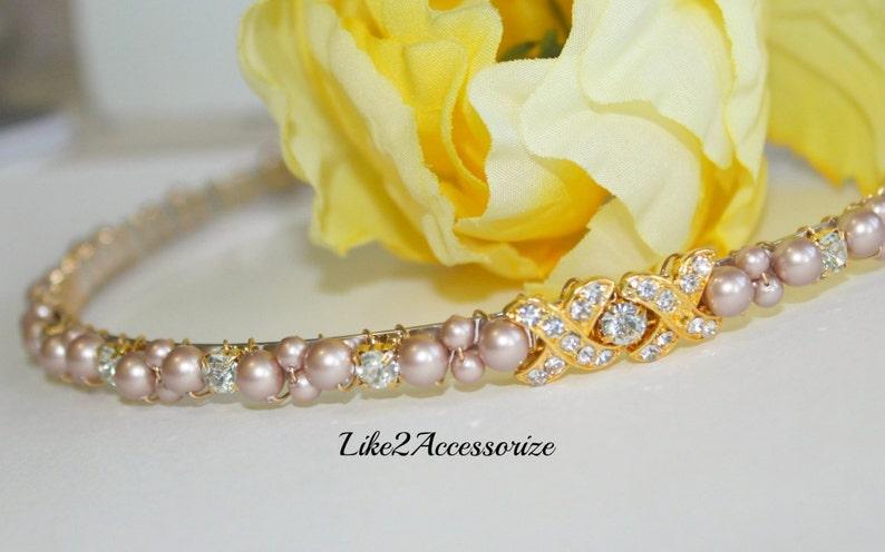 09a033feb04985 Pearl Bridal Tiara Headband Wedding Hair Piece Bridal Head