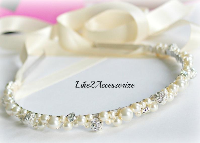 007c5c22355a00 Swarovski Pearl Headband Bridal Tiara Headband Wedding Jewelry