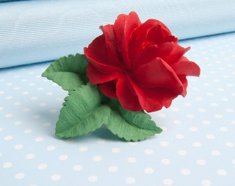 Hand painted Rose Brooch in a choice of colours