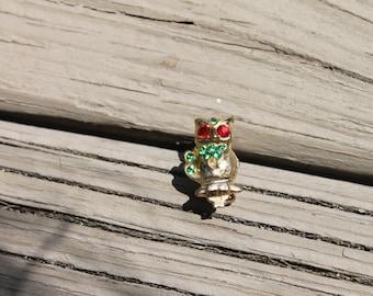 Vintage Tiny Owl Pin Brooch