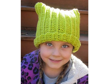 Crochet Cat Ear Hat DIGITAL Download Pattern For 2 To 5 Year Old Childrens Pussy Kitty