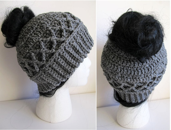 Messy Bun Hat CROCHET PATTERN Pattern For Crochet Ponytail Etsy Unique Ponytail Beanie Crochet Pattern