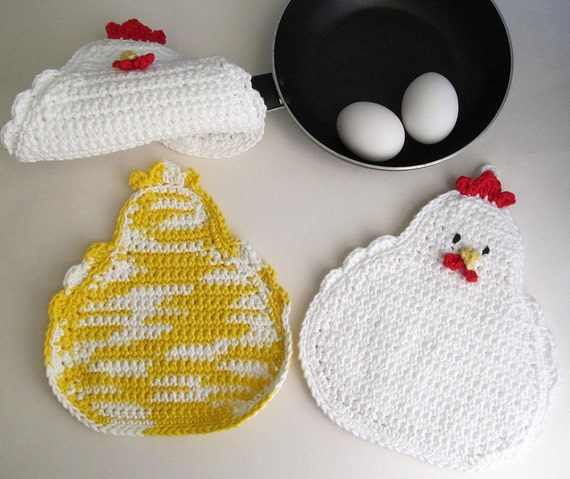 Chicken Potholder Pattern Crochet Chicken Trivet And Chicken Etsy
