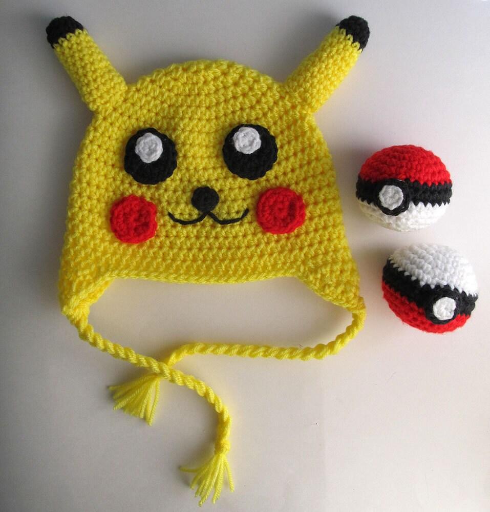 Pikachu Hat Crochet Pattern / Pokemon Knit Hat Pattern / 18 to 24 ...