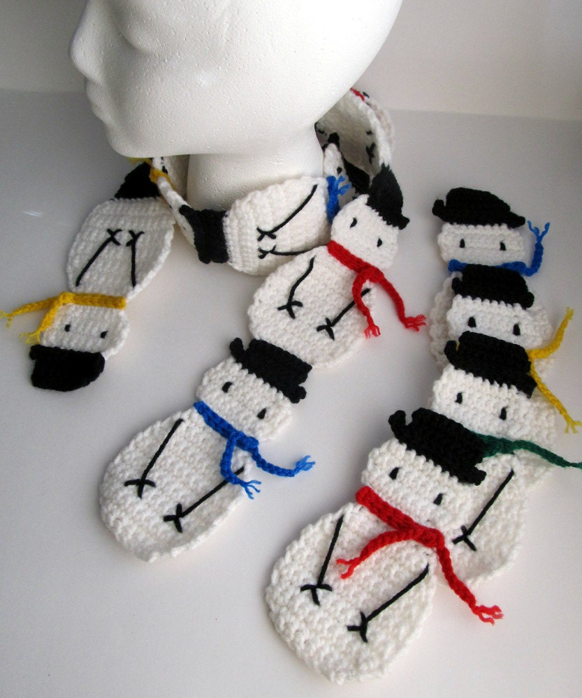 Pattern Crochet Snowman Applique And Snowman Scarf Pattern Etsy