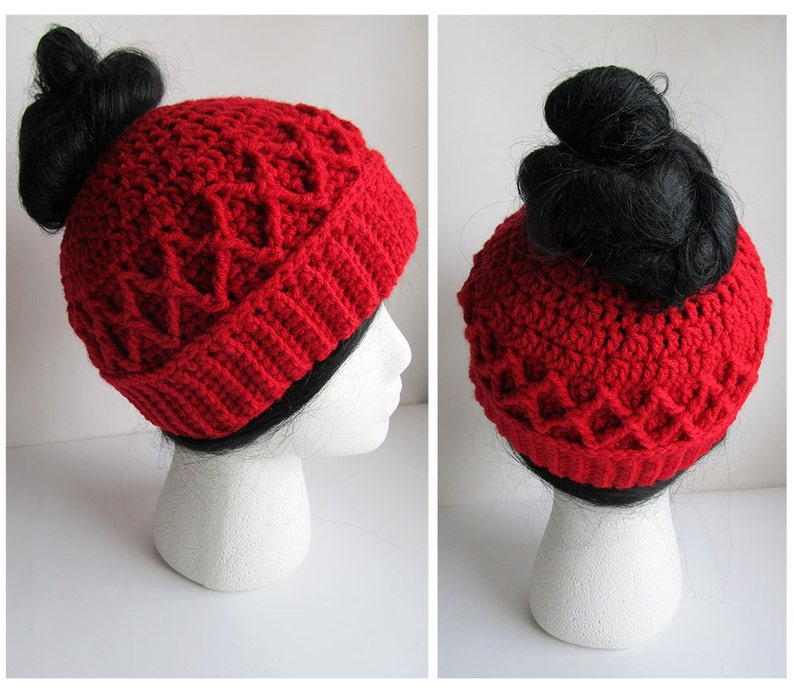 fa1fd86f5fb Messy Bun Hat CROCHET PATTERN Pattern for Crochet Ponytail