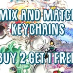Choose Any 3 Anime Acrylic Charm Keychains Buy 2 get 1 FREE