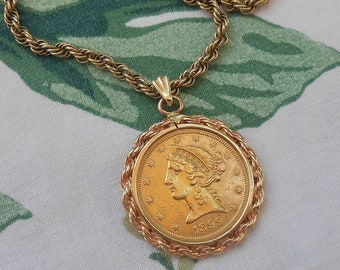 1899 Liberty Head 5 Dollar Gold Coin Pendant US Coin Estate San Francisco Yellow Gold Tested 10kt Gold Rope Chain Necklace Signed Krementz