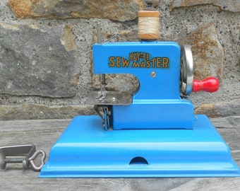 Toy Sewing Machine Kay an Ee Sew Master Metal Blue Teal with Clamp Berlin Made in Germay US Zone Hand Crank Sewing Room Decor Photo Prop