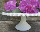 Fenton Spanish Lace Milk Glass Cake Stand Silvercrest Scalloped Ruffled Rim Pedestal Cake Plate Centerpiece Wedding Bridal Shower