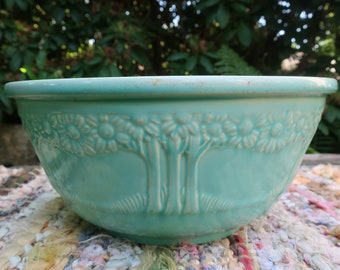 Aqua Homer Laughlin Orange Tree Mixing Bowl Apple Tree Nesting Vintage Pastel Pottery