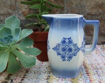 Antique Pottery Blue and White Ironstone Pitcher Farmhouse Decor Vase