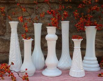 White Milk Glass Vases Vintage Wedding Decor Instant Collection of 7 Flower Bud Vases Centerpiece Tablescape
