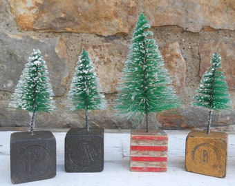 one bottlebrush tree on wood letter block sparkle snow flocked rustic mid century christmas decor holiday decorating