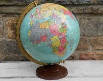 """Vintage World Globe 12"""" Replogle Precision Earth with Metal Axis and Faux Bois Metal Base Travel Wedding Guest Book 1940s Photo Prop"""