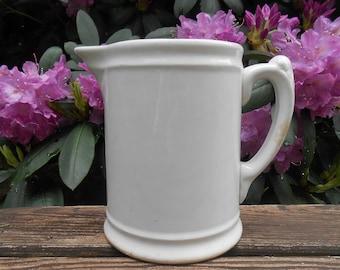 Antique White Ironstone Milk Pitcher Minimalist Simple Rustic Farmhouse Homer Laughlin American Stoneware Pottery Vase