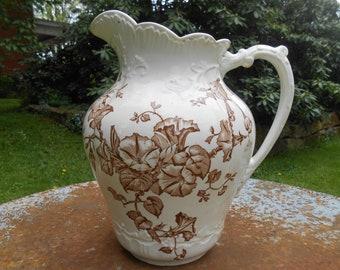 Antique White Ironstone Brown Transferware Pitcher Morning Glory Flowers Botanical Design Large Ewer Ornate Victorian Vase Farmhouse Style