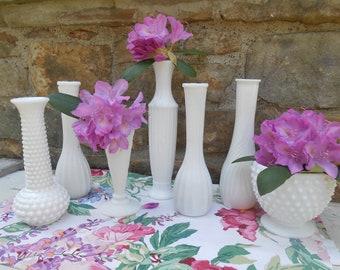 White Milk Glass Vases Vintage Wedding Decor Instant Collection of 7 Assorted Designs Hobnail Milk Glass Bud Vases Centerpiece Tablescape